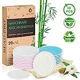 Waschbare Abschminkpads Wiederverwendbare Wattepads - 20 Abschminktücher aus Bambus & Baumwolle mit Wäschebeutel - Makeup Entferner Pads - Superweich Umweltfreundlich, Zero Waste für Gesicht Auge