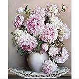 Dreamsy Ölgemälde durch Zahlen, DIY handgemalte Blumen Bilder Leinwand Malerei Wohnzimmer Wand Kunst Home Decor Geschenk - 16 * 20 Zoll ohne Rahmen