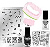 KONAD Stampingset SQUARE Maxi XL mit FANCY Stamp Set + Stampingschablone XL Square + NAILFUN Stampinglack weiss 11ml + NAILFUN Stamping-Lack schwarz 11ml [Limited Edition]