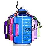 ETDW 2,2 Liter Sportflasche mit Zeitangaben BPA-Frei, Wiederverwendbare Verdickt Tragbarer Eimer mit Strohhalme Sportflasche mit Starkem Griff Blau
