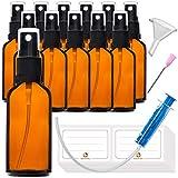 12x50ml Sprühflasche braun Glasflasche mit Zerstäuber - Apothekerglas spruehflasche aus Braunglas Set Inklusive 28 Hilfszubehör