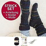 Socken Strick-Set für Anfänger aus 1 Knäuel Lieblingsfarben Sockenwolle (Karin Kaiser, mit Stricknadeln)