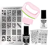 KONAD Stampingset SQUARE Maxi XL mit FANCY Stamp Set + Stampingschablone XL Square + NAILFUN Stampinglack weiss 11ml + NAILFUN Stamping-Lack schwarz 11ml [Limited Edition]