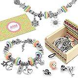 BIIB Charm Armband Kit DIY - Geschenk für Mädchen Teens, Armband Mädchen Geschenke 8-12 Jahre, Schmuck Bastelset Mädchen, Basteln Mädchen Personalisierte Geschenkset (3 Silber Kette)