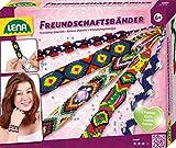 Lena 42686 - Bastelset Freundschaftsbänder knüpfen, Komplettset zum Flechten von Armbändern mit 6 farbigen Knüpfgarnen und extra vielen Fädelperlen, Knüpfset für Kinder ab 6 Jahre
