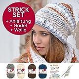 myboshi Strick-Set Mütze Irvine | aus No.1 | Anleitung + Wolle | mit passender Stricknadel | Elfenbein Marine Titangrau Kakao