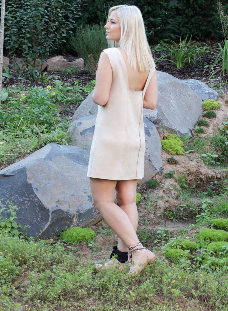 minimal style beige dress